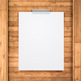 Empty Paper Sheet Stick On Wood Background. Stock Images