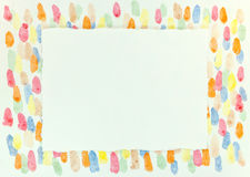 Empty paper sheet with torn edges over bright artistic painting. Blank paper sheet with torn edges over bright artistic painting with blots stock photo
