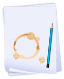 An empty paper with a stain and a blue pencil Royalty Free Stock Images