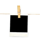Empty paper tag  on clothes line on white background Royalty Free Stock Photo