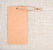 Empty paper tag with string on the straw Royalty Free Stock Photos