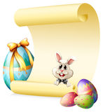 Empty paper template with bunny and Easter eggs Royalty Free Stock Photography