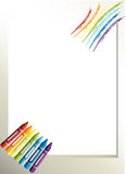 An empty paper template with crayons Royalty Free Stock Photography