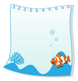 An empty paper template with a fish. Illustration of an empty paper template with a fish on a white background Stock Image