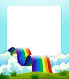 An empty paper template with a rainbow at the bottom Stock Photos