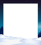 An empty paper template with a snow-covered land at the bottom Royalty Free Stock Photo
