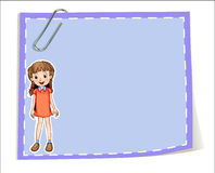An empty paper template with a young girl smiling Royalty Free Stock Images