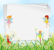 Empty paper templates with fairies Royalty Free Stock Photo