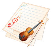 An empty paper with a violin and musical notes Stock Images