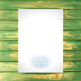 Empty paper on the wooden vintage background. Vector Mockup. Blank template for placing your design stock illustration