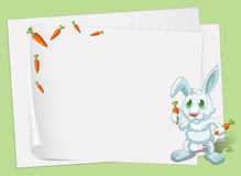 Empty papers with a bunny and carrots. Illustration of the empty papers with a bunny and carrots Stock Photo