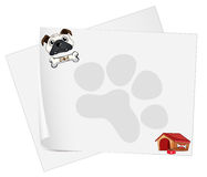 Empty papers with a dog Royalty Free Stock Image