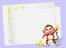 Empty papers with a monkey and bananas Stock Images