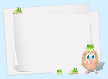 Empty papers with a small molehog and cabbages Stock Images