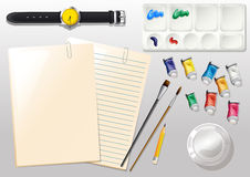 Empty papers, a watch and the different materials for painting Stock Images