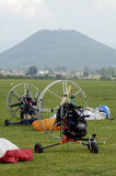 Empty paragliding machines Royalty Free Stock Image
