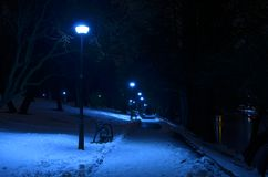 Mysterious blue atmosphere in Bucharest park. Empty park alley covered by snow and lit by street lamps. Cold misty winter evening. Mysterious blue atmosphere royalty free stock photography