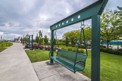 Empty park bench Stock Image