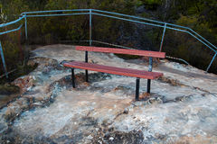 Empty park bench on mountain lookout. An empty park bench on mountain lookout in the Blue Mountains National Park, New South Wales, Australia stock photography