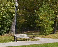 Empty Park bench in park Stock Photo