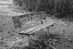 Empty park bench sadness and depression. Empty park bench respresenting feelings of sadness and depression Stock Photography