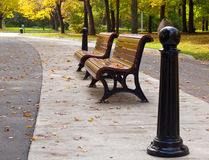 Empty Park Benches. Profile of two empty park benches with changing Autumn colours in the background Stock Image