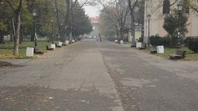 Empty park. Empty city park during the late autumn morning stock footage