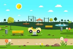 Empty Park - Playground  - City Garden. Vector Cartoon Vector Illustration
