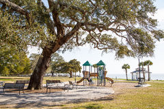 Coastal Park and Playground in Winter.jpg Stock Photo