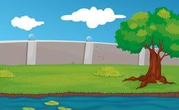 Empty park scene. Illustration of an empty park Stock Images
