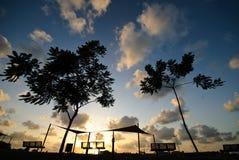 Empty park at sunset Stock Photos