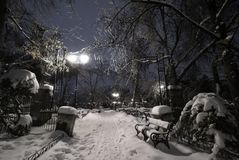Empty park under snow during winter cold night. Magical winter night view in the Christmas Day of the Chessplayers Corner in Cismigiu Park, Bucharest Stock Photos
