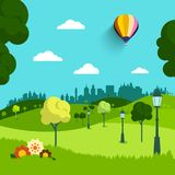Empty Park Vector Flat Design Landscape. Natural Scene with Trees, Flowers and Hot Air Balloon Vector Illustration