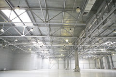 Empty parking. Picture of modern empty storehouse Stock Photo