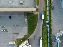 Empty parking area of the city mall in Moscow. Aerial view at the parking area of the Auchan mall in Moscow, Russia Stock Images
