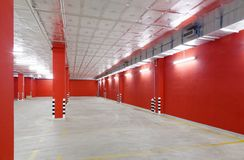 Empty parking area with red Stock Photo