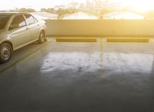 Indoor parking car. Empty parking car with yellow line deviding car Stock Image