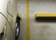Indoor parking car. Empty parking car with yellow line deviding car Stock Photography