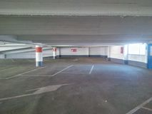Empty parking garage. Empty deserted concrete parking garage Royalty Free Stock Photography
