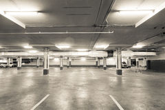 Empty parking garage underground interior  in apartment or in su. Permarket Royalty Free Stock Photos