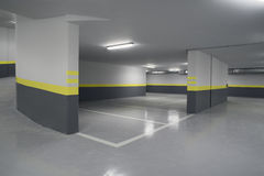 Empty parking garage underground interior in apartment. Or in supermarket Stock Images