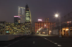 Empty parking lot. In the city at night, Hong Kong Royalty Free Stock Photo