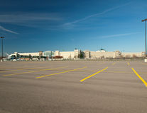 Empty parking lot. Large empty mall parking lot Royalty Free Stock Photo
