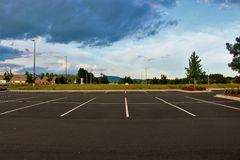 Empty parking lot. A huge empty parking lot of a newly built Walmart in vancouver washington Stock Photo
