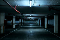 Empty Parking Lot With Lighted Light Royalty Free Stock Image