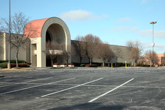 Empty parking lot at a mall. Abandoned parking lot with acres of available parking Stock Photo
