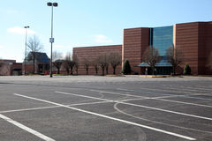 Empty parking lot at a mall. Stock Image