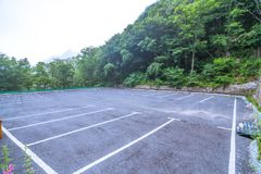 Empty parking lot. The empty parking lot in the mountains Stock Images