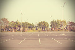 Empty parking lot outdoor in public park - vintage effect style Stock Photos