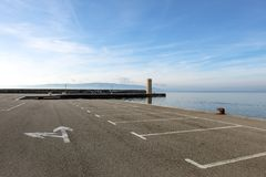 Empty parking lot at the sea Royalty Free Stock Photos